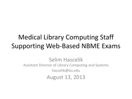 Medical Library Computing Staff Supporting Web