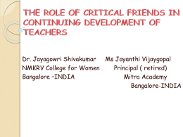 the role of critical friends in continuing development