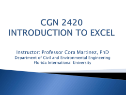 CGN 2420 Computer tools for civil engineers