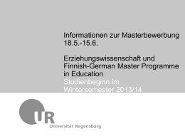 Finnish-German Master Programme in Education