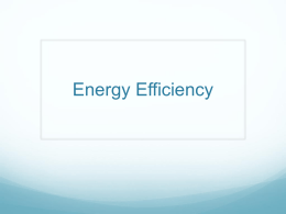 Energy Efficiency - Ms. Kralovec`s Class
