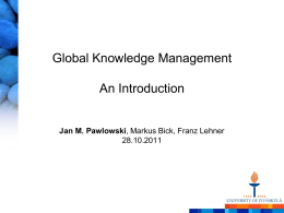 The Global Knowledge Management Framework