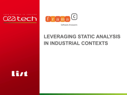 Frama-C: Static Analysis Deployment in Industrial Contexts