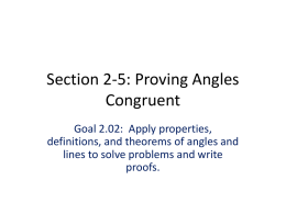 Section 2-5: Proving Angles Congruent