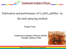 Fabrication and performance of Li4SiO4 pebbles by the melt