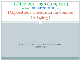 Dispositions douanières 2015