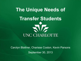 Unique Needs of Transfer Students
