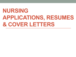 """Nursing Resumes, Applications and Cover Letters"" PPT"