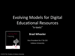Evolving Models for Digital Educational Resources