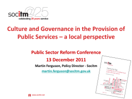 Culture and Governance in the Provision of Public Services – a local