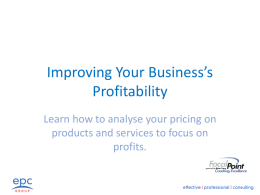 Improving Your Business`s Profitability