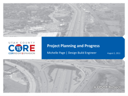Utah County I-15 CORE: Project Planning and Progress