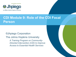 Role of the CDI Focal Person