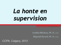 La honte en supervision - Canadian Counselling and