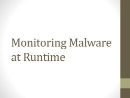 Monitoring Malware at Runtime
