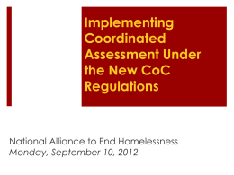 Implementing Coordinated Assessment Under the New CoC