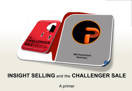Insight Selling and the Challenger Sale