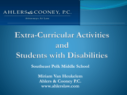 Extra-Curricular Activities and Students with - SEP-Jr-High