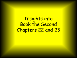 Insights into Book the Second Chapters 21 and 22