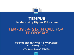 6th Call for Proposals