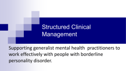 Structured Clinical Management - Scottish Personality Disorder