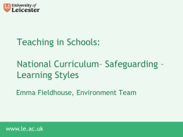 National Curriculum, Safeguarding, Learning Styles