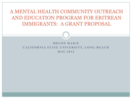 a mental health community outreach and education program
