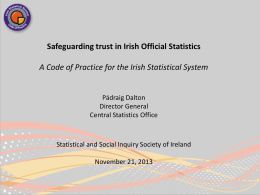 Presentation by Pádraig Dalton, Director General CSO