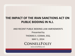 the impact of the iran sanctions act on public bidding in nj