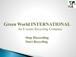 GWI Company Profile - E Waste Management Companies in India