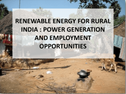 renewable energy for rural india : power generation and