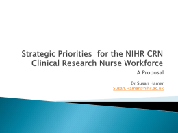 Strategic Priorities for the NIHR CRN Clinical Research Nurse