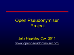 The Open Pseudonymisation project