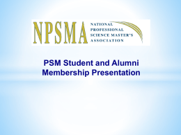 PSM Students and Alumni Powerpoint Presentation