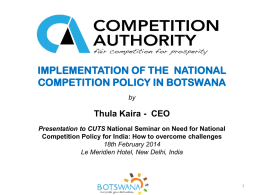 Implementation of the National Competition Policy in