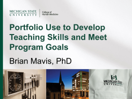 Portfolio Use Oct 2013 - Michigan State University