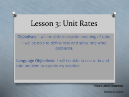 Lesson 3: Unit Rates - Shields Middle School