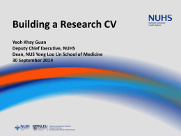 Building a research CV - National Medical Research Council