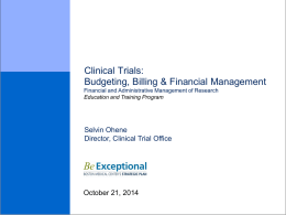 Clinical Trials Budgeting Billing Financial Management