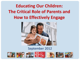 The Critical Role of Parents and How to