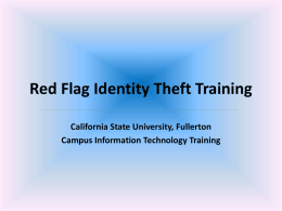the Red Flag Identity Theft Power Point presentation (no