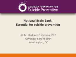 National Brain Bank: Essential for suicide prevention