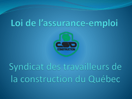 Modifications à la loi de l*assurance-emploi
