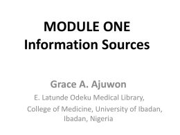 Information Sources (Grace Ajuwon)