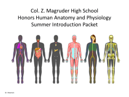 Col. Z. Magruder High School Honors Human Anatomy and