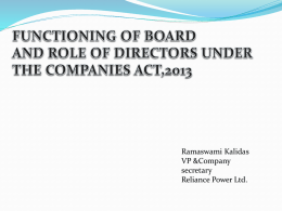 functioning of board and role of directors under the companies act