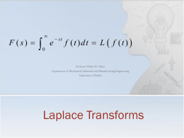 The Laplace Transform - University of Toledo