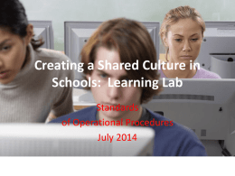 SOP for Lab Educators - Creating Shared Culture in Schools