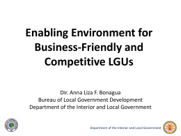 Building Business-friendly & Competitive Local - LGSP-LED