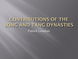 Contributions of the Song and Tang Dynasties